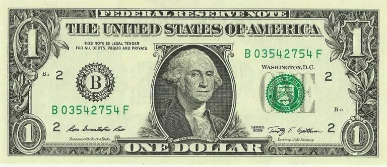 US one dollar bill2C obverse2C series 2009